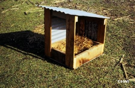 Shelters for waterfowl cut plastic barrels in half for How to build a duck shelter
